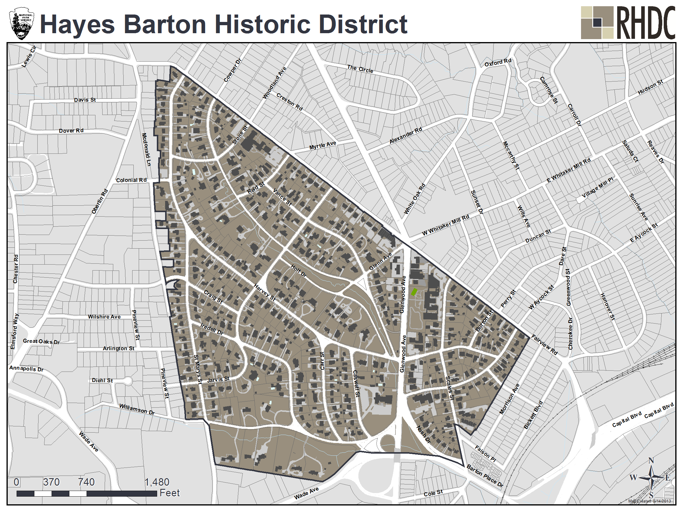 Hayes Barton Historic District map Five Points